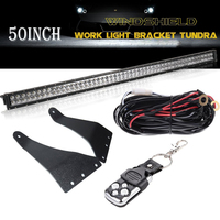 Upper Windshield Mount Bracket 1Lead Wiring Harness Remote Control Switch 50in 288W Straight LED Light Bar