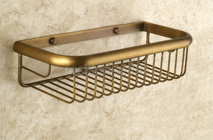 ФОТО 30cm Vintage Antique Brass Wall Mounted Bathroom Accessory Single Tier Soap / Sponge Corner Shower Storage Basket aba523