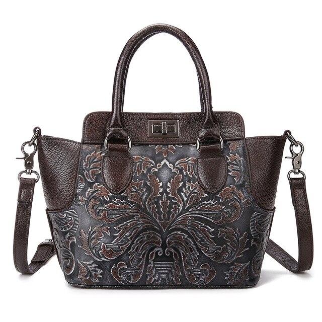 2016 New Embossed Floral Print Luxury Handbag High Quality Women Genuine Leather Messenger Bags Ladies Vintage Retro Tote Bags
