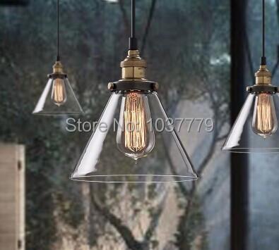 Montagem do vintage sombra de vidro lustre Edison E27 Edison lâmpada pingente lâmpada estilo industrial
