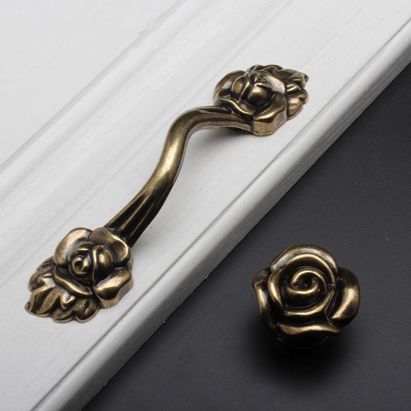 retro rose flower dresser knobs drawer pulls bronze rustic kitchen cabinet handle door handle
