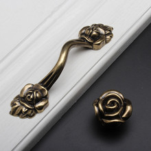 Retro Rose Flower Dresser knobs Drawer Pulls Bronze Rustic Kitchen Cabinet Handle Door Furniture Hardware