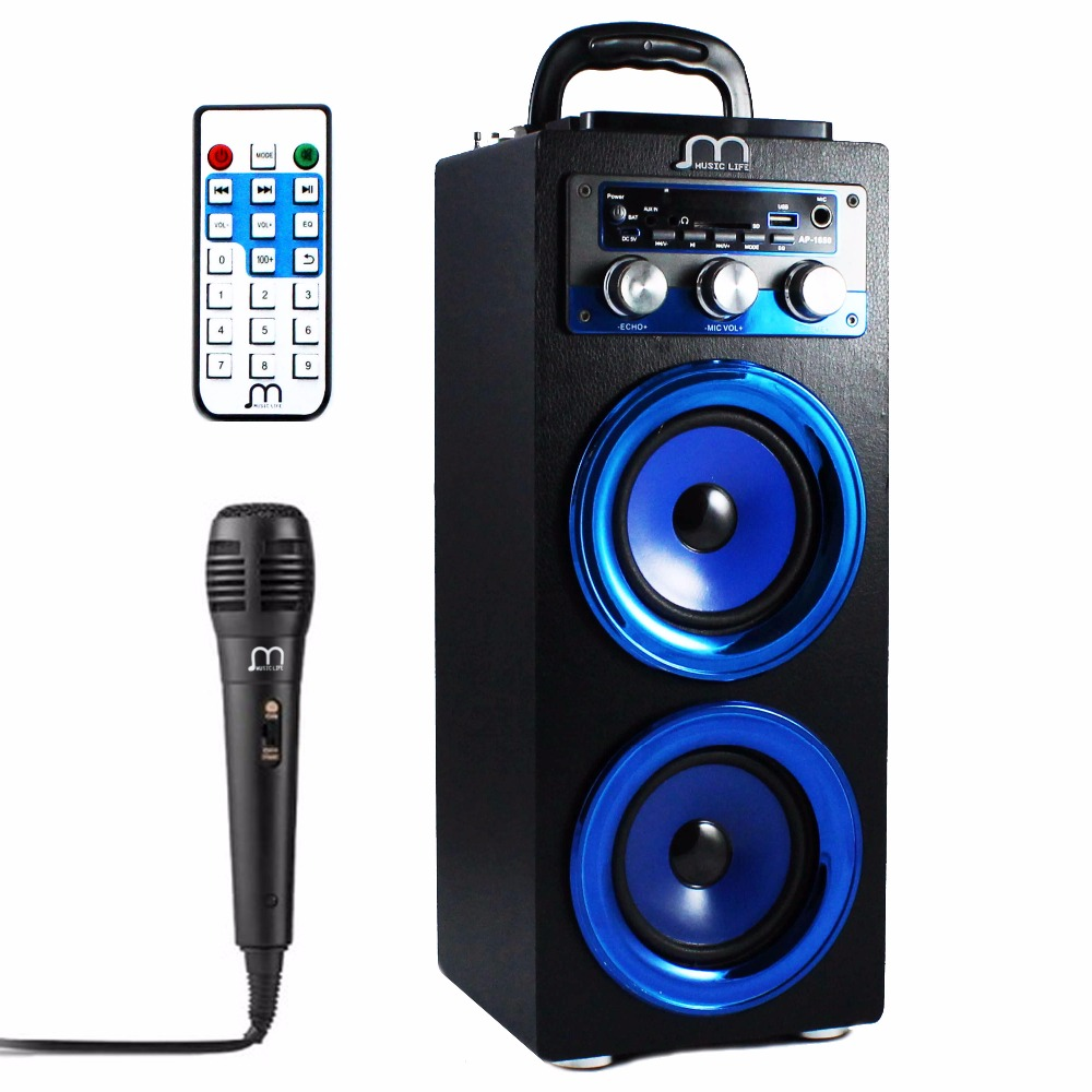Bluetooth Speaker Karaoke Portable with Microphone FM Radio MP3 High Power Output speaker bluetooth speaker karaoke portable with microphone mp3 fm radio usb tf card rechargeable high power