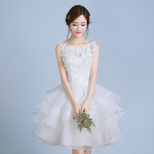 New white knee length short sweat lady girl women princess bridesmaid banquet party ball dress gown