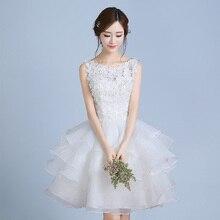 Nowy biały do kolan krótki pot lady girl kobiety księżniczka druhna bankiet party suknia balowa suknia