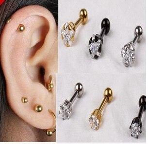 Cubic Zirconia Tragus Lip Ring Ear Earring Tongue Studs E-197