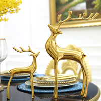 Home living room wine cabinet ornaments deer creative desk decoration jewelry home soft copper crafts High grade metal crafts