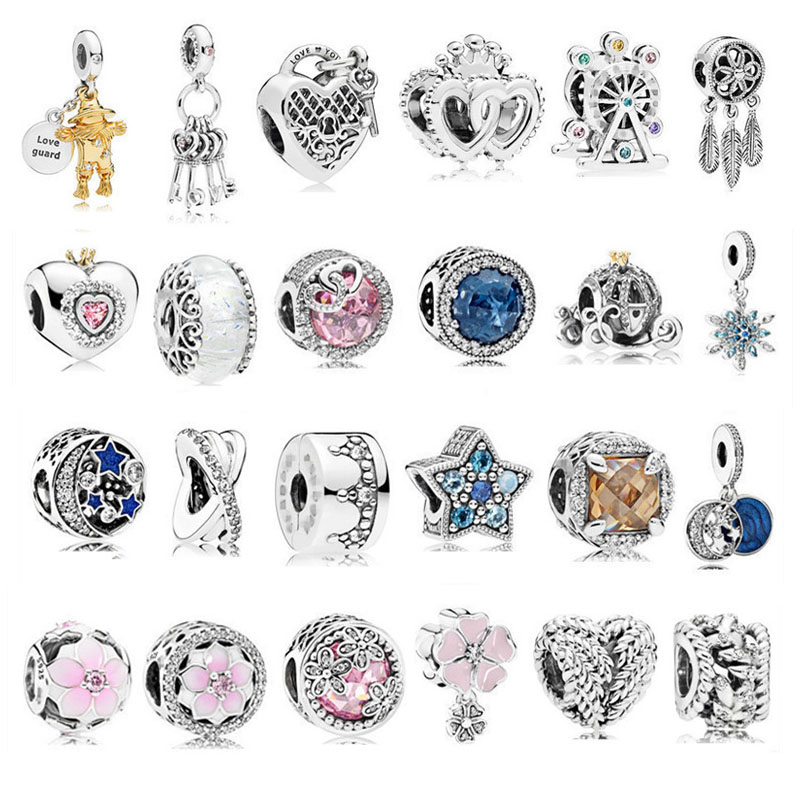 JP Crystal Beads Fits Original Pandora Charm Bracelet 100% 925 Sterling Silver Beads for Jewelry Making Valentine's Gift Jewelry strollgirl car keys 100% sterling silver charm beads fit pandora charms silver 925 original bracelet pendant diy jewelry making