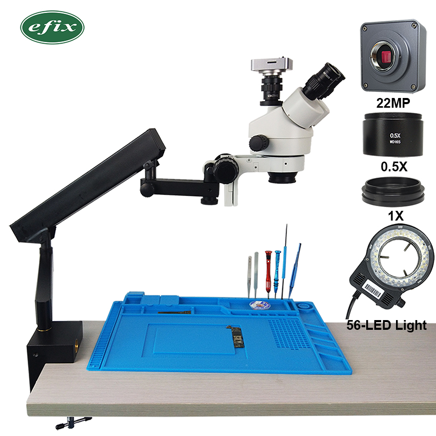 Efix 22MP HDMI USB 3.5-45X Trinoculaire Stéréo Microscope Simul-Focuse Bras Articulé Stand Zoom Appareil Photo Numérique Téléphone réparation