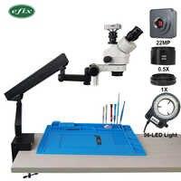 efix 22MP HDMI USB 3.5-45X Trinocular Stereo Microscope Simul-Focuse Articulating Arm Stand Zoom Digital Camera Phone Repair