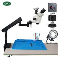 efix 22MP HDMI USB 3.5 45X Trinocular Stereo Microscope Simul Focuse Articulating Arm Stand Zoom Digital Camera Phone Repair