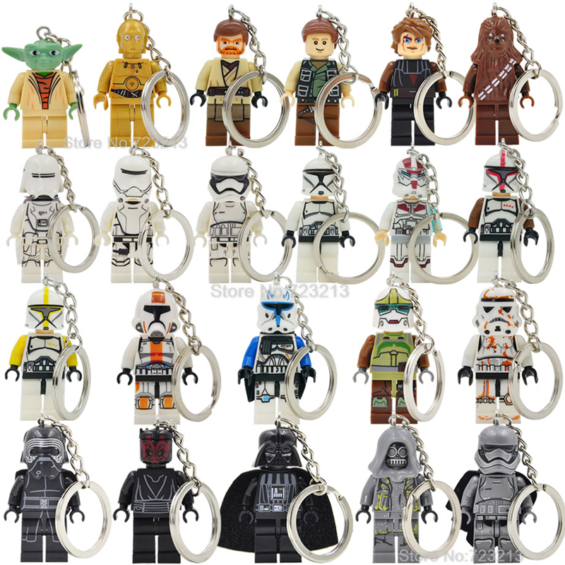 Star Wars Figure Stormtrooper C3PO Yoda Keychain Anakin Darth Vader Kylo Ren Custom DIY Key Chain Ring Building Blocks Toys светильник светодиодный 3dlightfx star wars yoda face 3d