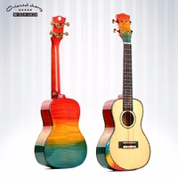 Free Shipping Y Music 24 inch Rainbow Color Solid Spruce top Flamed maple back beautiful sound Ukulele W-D14-UK24