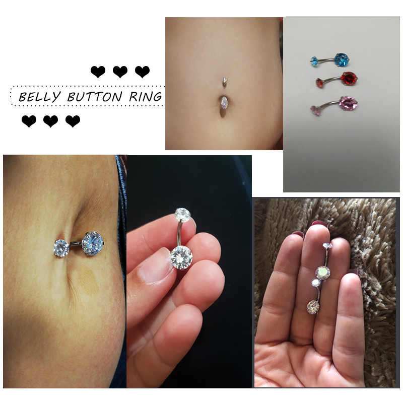 Qcooljly Double Side Navel Piercings Titanium Belly Button Ring Crystal Nombril Round Navel Rings Sexy Dangle Body Jewelry