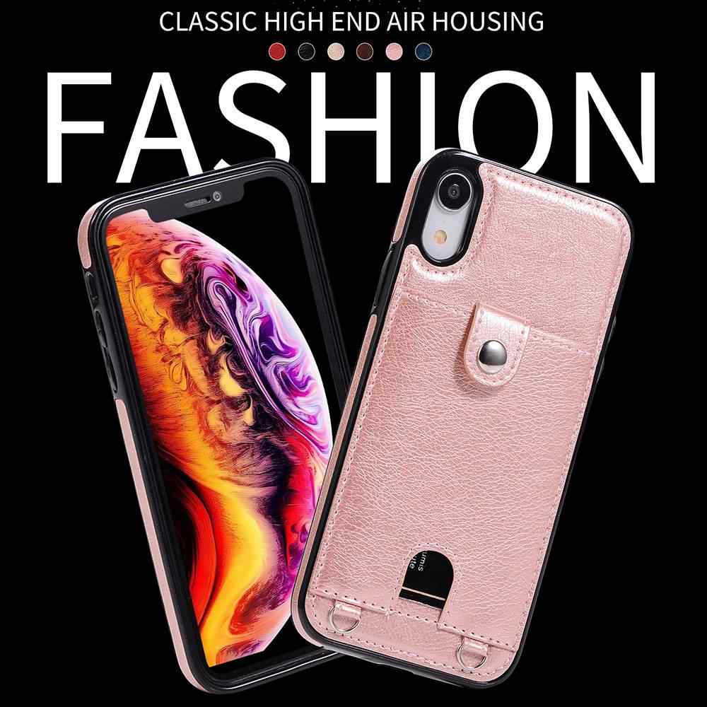 BEIJOS Com corda de couro Caixa do telefone Para iphone 6 6s X 7 8 bolso Cartão Caso strap para iphone X XS XR 7 XSMAX 8Plus Capa Fundas