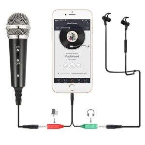 Image 2 - Microfone do telefone móvel microfone do condensador da gravação de lefon microfone para computador pc karaoke microfone titular para android 3.5mm plug