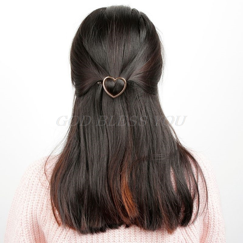 Minimalist Love Heart Shape Hair Clips Women Hollow Metal Alloy Hairpin Clamps Metallic Polished Glitter Barrettes Bobby Pin