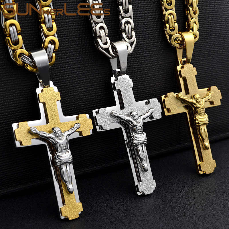 SUNNERLEES 316L Stainless Steel Jesus Christ Cross Pendant Necklace Byzantine Link Chain Silver Gold Men Boys Gift SP217