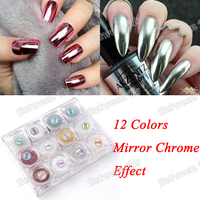 New Arrived 12 Colors Lot Silver Gold Chrome Mirror Powder UV Nails Shinning Glitter Nails Mirror