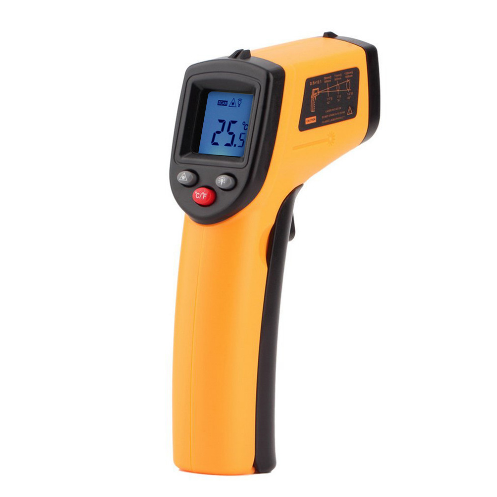 Non-Contact LCD Display IR Laser Infrared Digital Temperature Meter Sensor Thermometer Point with Data Holding mastech ms6530b 12 1 d s digital non contact infrared thermometer ir temperature meter with laser sighting and backlight