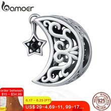 BAMOER 100% 925 Sterling Silver Openwork Moon and Star Goodnight Charm Beads fit Bracelet DIY Jewelry Valentine Day Gift SCC483(China)