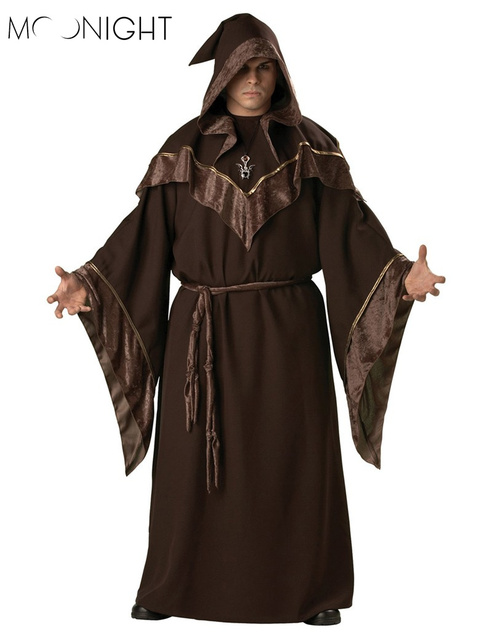 MOONIGHT Halloween Costumes Adult Mens Gothic Wizard Costume European Religious Men Priest Uniform Fancy Cosplay Costume for Men