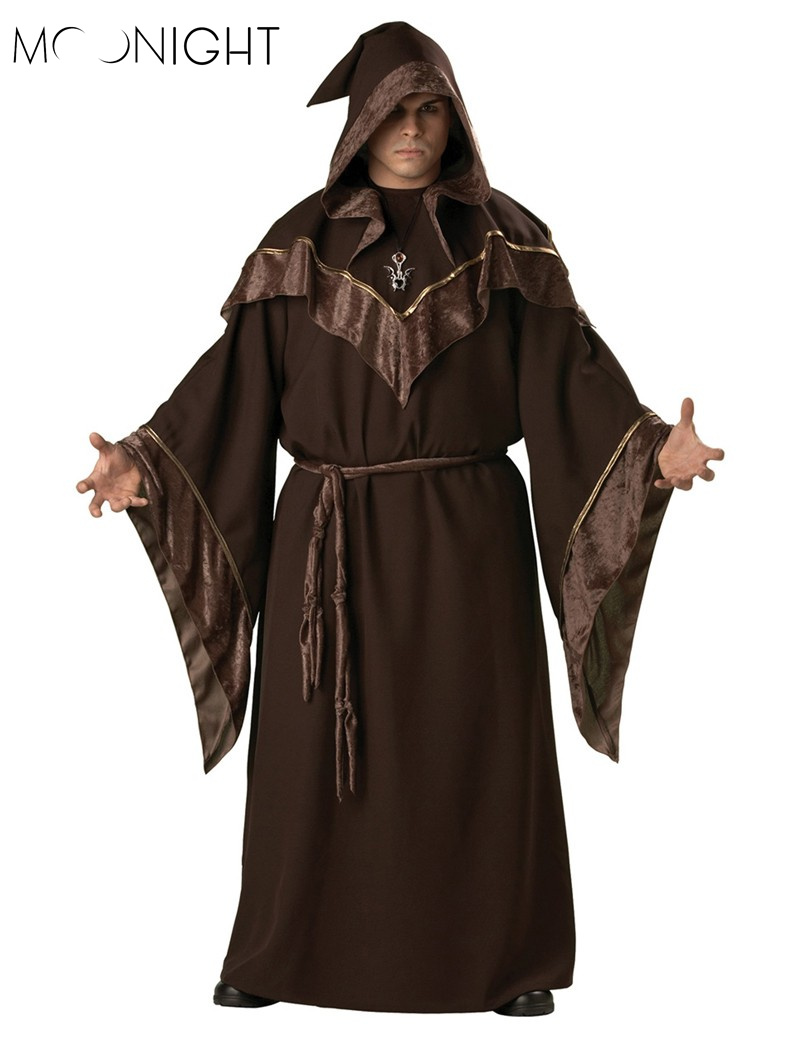 MOONIGHT Halloween Costumes Adult Mens Gothic Wizard Costume European Religious Men Priest Uniform Fancy Cosplay Costume for Men