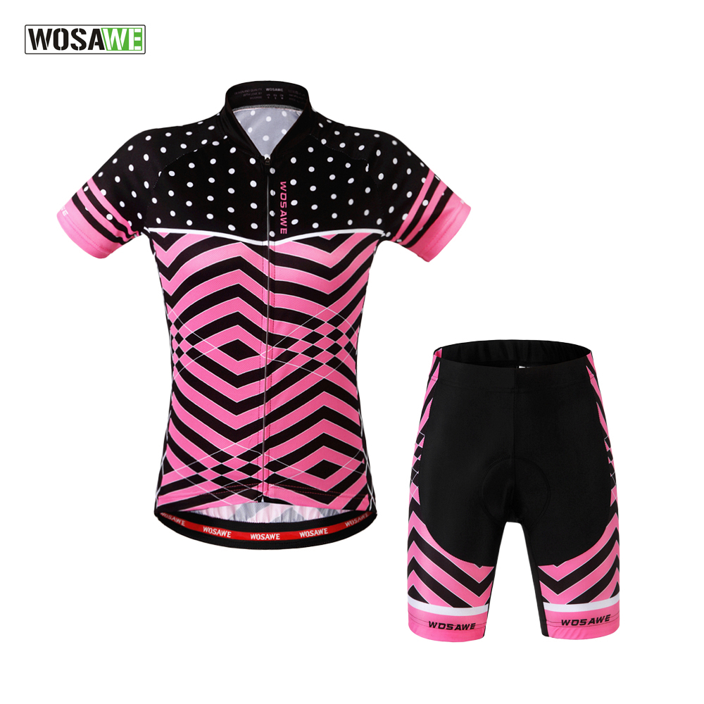 WOSAWE 2017 New Summer Cycling Jersey Women Bicycle Short Sleeve Set Road Bike MTB Clothing Roupas De Ciclismo Equipacion