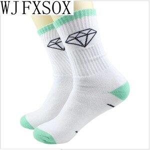 WJFXSOX, 5 пар, новинка, алмазные носки унисекс в стиле Харадзюку с листьями для женщин и мужчин, хлопковые носки в стиле хип-хоп, мужские носки ...