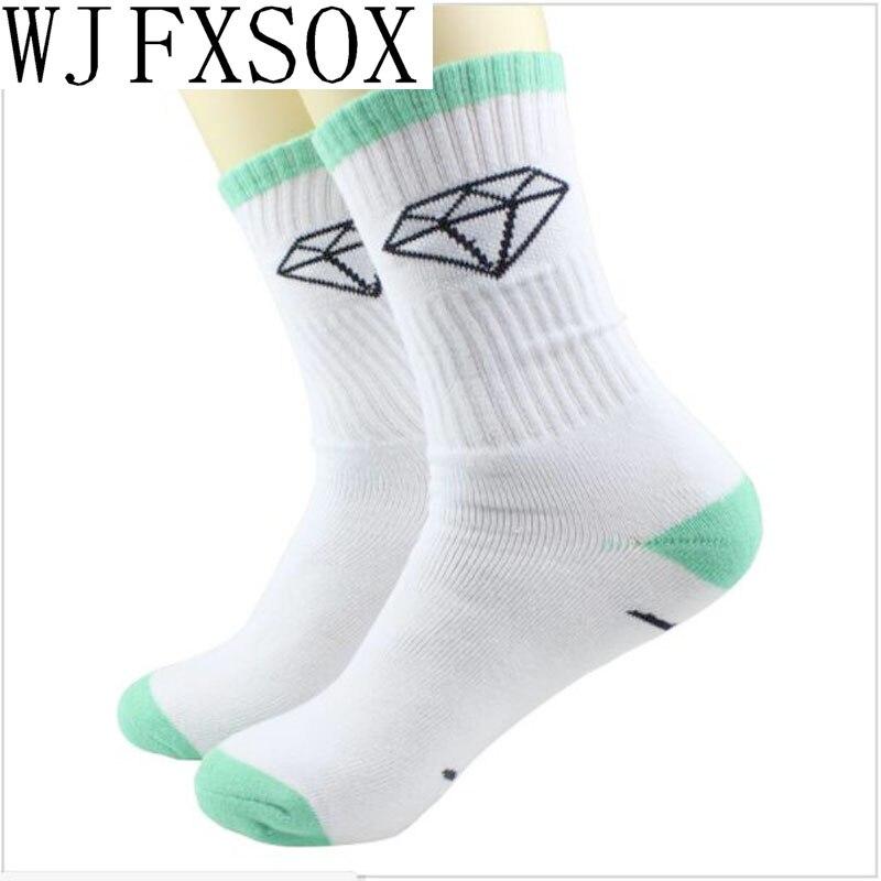 WJFXSOX 5 Pairs New Diamond Harajuku Leaf Style Weed unisex Socks For Women Mens Cotton Hip Hop Socks Man Meias Men Calcetines