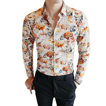 9f38e955 2018 Men's Shirts Retro Floral Printed Man Casual Slim Shirt Fashion Classic  Men Dress Shirt Men's Long Sleeve Brand Clothing