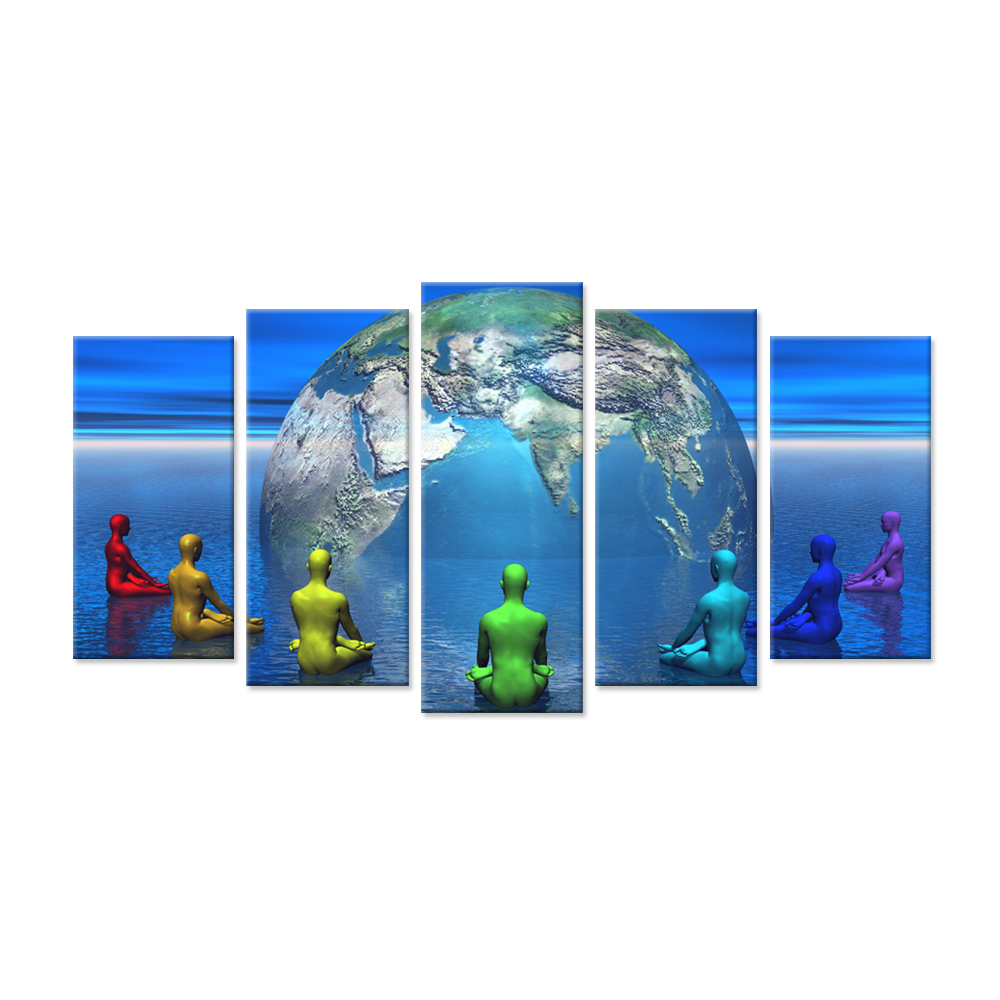 5 Pieces Modern Canvas Wall Art World Healing Circles Colorful <font><b>Nude</b></font> <font><b>Men</b></font> Seating Peaceful Around Earth Picture Print On Canvas