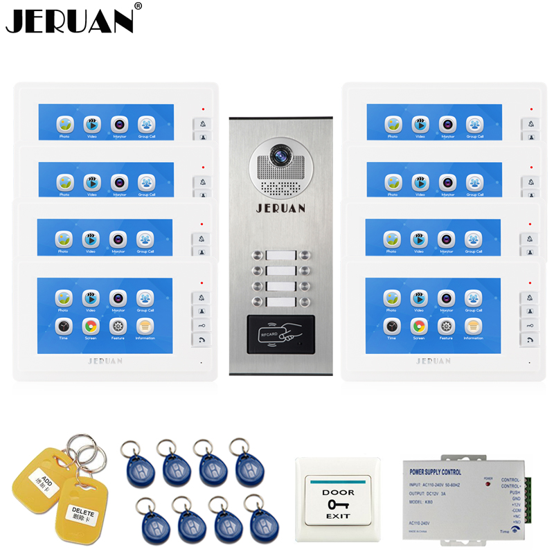 JERUAN 7`` LCD Video Intercom Door Phone Record system RFID Access Entry Security Kit For 8 Apartments Camera to 8 Household jeruan 7 inch video door phone record intercom system rfid access entry security kit for 4 apartment camera to 4 household