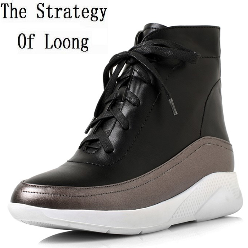 Women Leather Lace Up Zip Low Heels Ankle Boots Short Plush Thick Warm Fashion Casual Winter Boots 20170210 women patent leather lace up short plush thick warm ankle boots low heels fashion round toe no plush spring autumn boots 0221