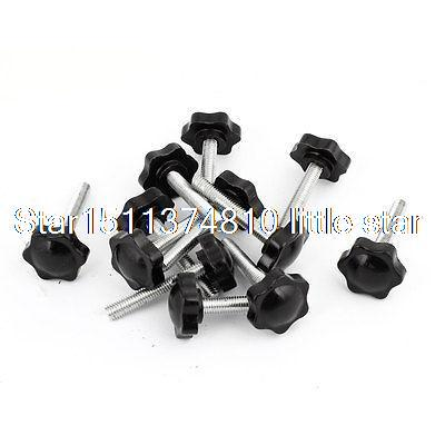 12 Pcs 32mm Dia Star Shaped Head M8 x 50mm Male Thread Clamping Screw Knob 2pcs 40mm x 8mm male thread five pointed star head screw knob handle