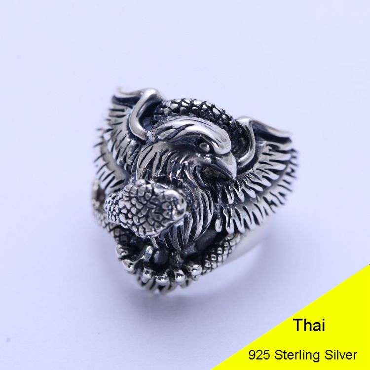 Genuine 925 Sterling Silver Animal Eagle & Snake Retro Men Male Ring Thai Silver Fine Jewelry Gift Finger Ring CH054037 retro style eagle claw shape alloy women s finger ring