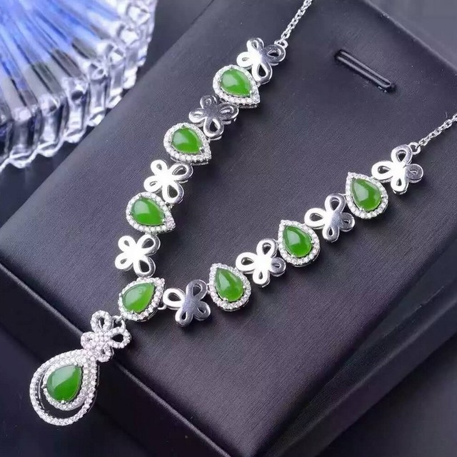 Fidelity natural jasper pendants necklaces s925 sterling silver fidelity natural jasper pendants necklaces s925 sterling silver natural green gemstone necklaces elegant fine jewelry for aloadofball Image collections