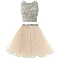 Luxury Short Prom Dresses Two 2 Pieces for Graduation Beading Sequined Formal Party Cocktail Gowns Custom Made Prom Dress