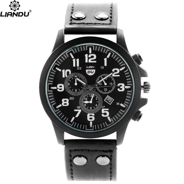 883895e47e36 Liandu marca baratos Sport reloj hombre Casual relojes correa de cuero para  hombre de cuarzo negro