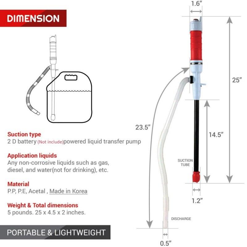 Bomba de agua eléctrico vehículo Auto del coche al aire libre Gas combustible transferencia bombas de succión líquido aceite de transferencia de líquidos no corrosivos