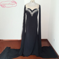 Black Evening Dresses with Sashes Crystal Beading Sequins with Sashes Black Prom Dresses Real Picture