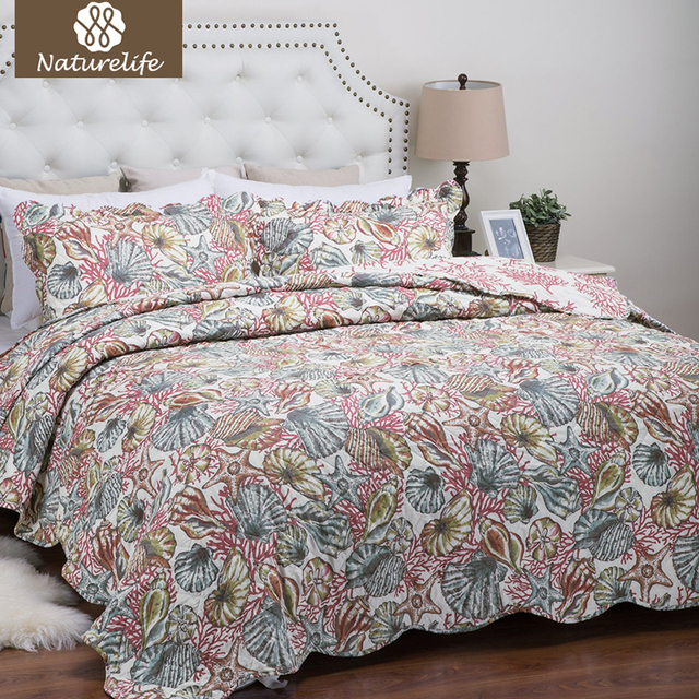 Naturelife Korallen Muster Quilt Set Bettdecke Bettdecke Stepp