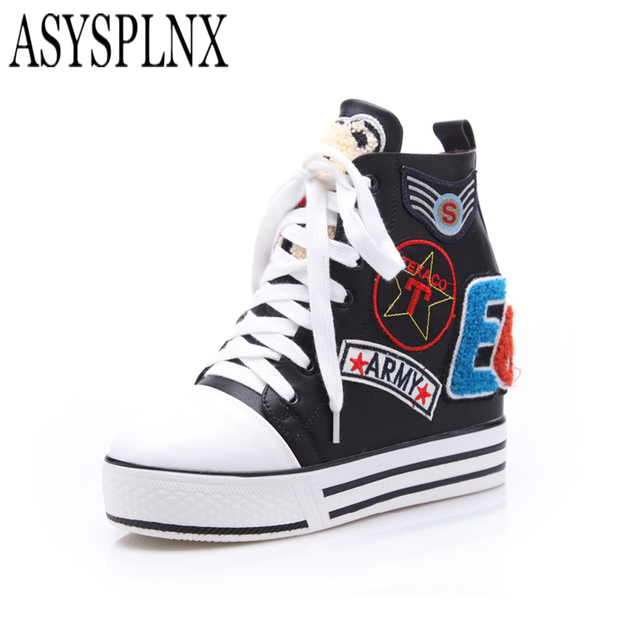 ASYSPLNX balck silver round toe wedge Skid women fashion flat shoes,2016 new Autumn casual platform style lace up women shoes