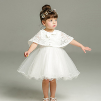 Brand Princess Toddler Baby Girl Party Dress 1 Year Birthday Baptism Dresses With Shawl For Girls