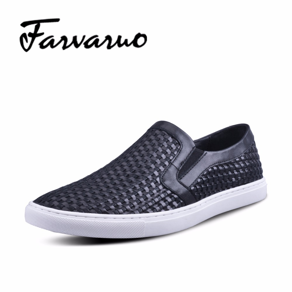 Farvarwo Men Loafers Genuine Leather Male Platform Shoes Summer Breathable Flats Weaving Casual Boat Shoe Leisure Slips Footwear vesonal 2017 quality mocassin male brand genuine leather casual shoes men loafers breathable ons soft walking boat man footwear