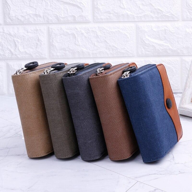 New 2018 Men Canvas Short Bifold Purse Wallet Clutch Handbag Credit Card Holder Billfold men pu leather credit card holder billfold wallet purse checkbook clutch