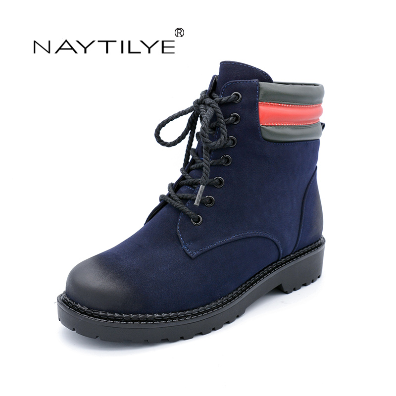 NAYTILYT PU leather shoes woman ankle warm winter boots women square heels lace-up round toe nature wool black blue size 36-40 enmayer winter woman boots pointed toe lace up shoes winter warm boots black red 2017 new fashion shoes ankle boots big size