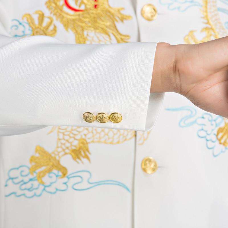 Dragon Col Tunique Pour Et Brodé Costume Cinq Blanc Studio Robe Hommes veste Noir Jeunes Chanteur Pantalon De Chœur Quatre qxv8w14