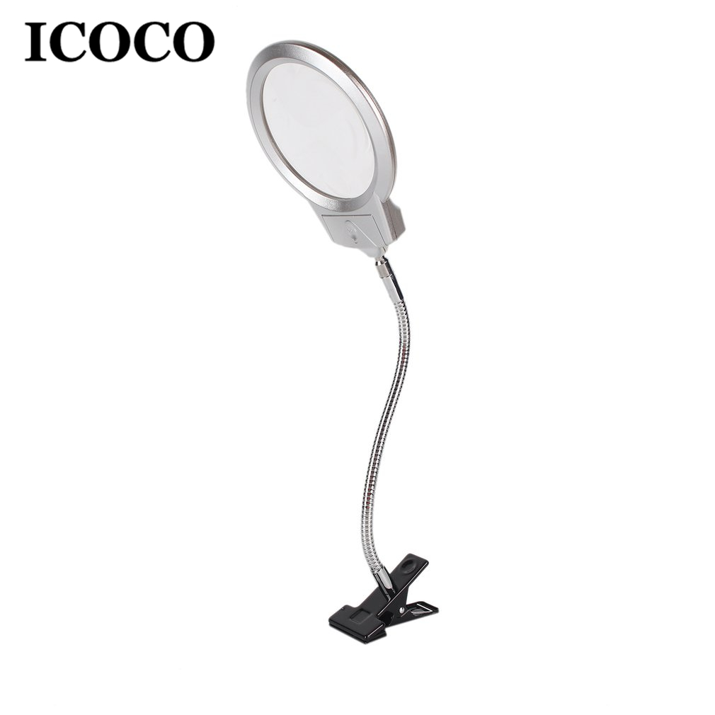 ICOCO Clip On Desktop Illuminated Magnifier Magnifying Glass Reading Loupe Metal Hose LED Lamp Top Desk Magnifier With Clamp