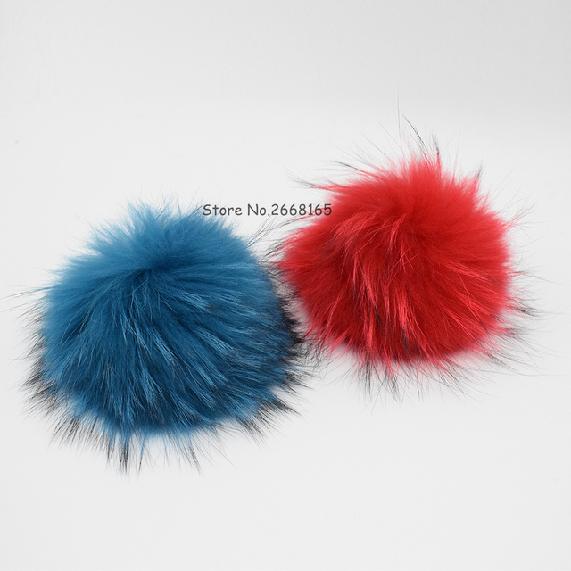 100% Genuine 22cm Real Big Raccoon Fur Ball Pompoms For Winter Women Accessories Beanie Hat Cap Top Fur Ball For Hat